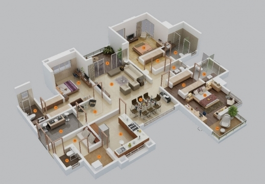 Amazing 1000 Images About Floor Plans And 3d Models On Pinterest Searching For Three Bedroom Plan Picture