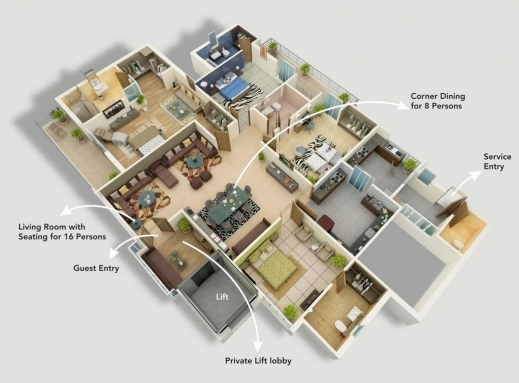 Incredible 4 Bedroom House Floor Plans 3d House Floor Plans Modern