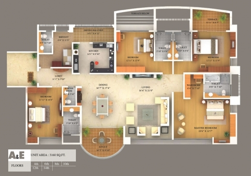 3d floor plan renderings planos casa pinterest house plans for Modern four bedroom house plans