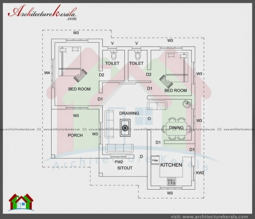 2000 square feet 3 bedroom house plan and elevation for Single floor 4 bedroom house plans kerala