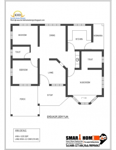Fantastic Single Floor House Plan And Elevation 1320 Sq Ft Home Appliance Home Plan Single Picture