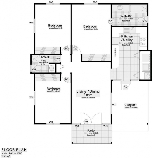 3 bedroom flat plans in nigeria bedroom review design for Building plan for two bedroom flat