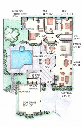 Fascinating house plans with indoor swimming pool for Swimming pool floor plan