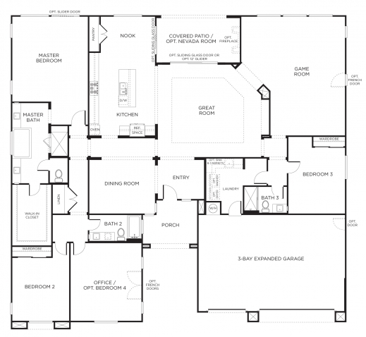 One Bed And Tv Room House Plan House Floor Plans