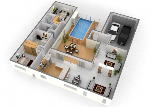 Gorgeous 1000 Images About 3d House Plan On Pinterest Impression 3d Modern 4 Bedroom House Floor Plans 3d Pic