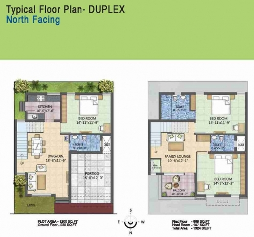 Floor plan for north facing duplex house for 25x50 house plan