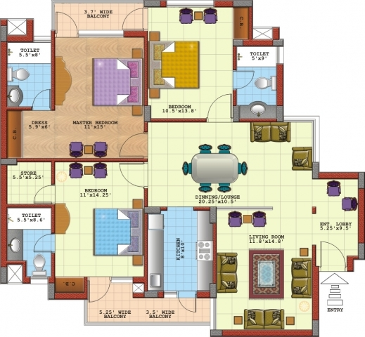 3 bedroom modern house plans in nigeria bedroom and bed for Three bedroom flat floor plan