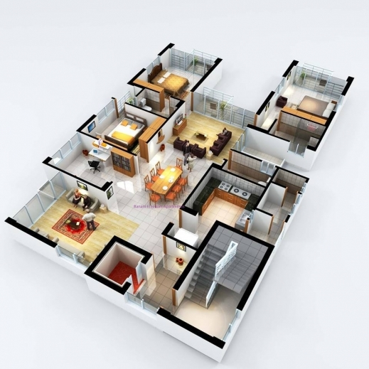 Incredible 1000 Images About 3d Floor Plans On Pinterest Floor Plans 3d Searching For Three Bedroom Plan Photos
