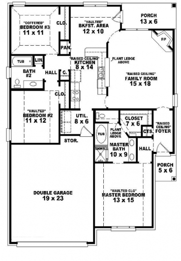 Incredible 3 bedroom house plans 1 story arts single story for Free single family home floor plans