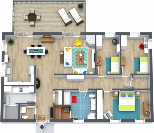 Three Bedroom Rentals: Amazing Best 3 Bedroom Floor Plan Best Home Design Luxury