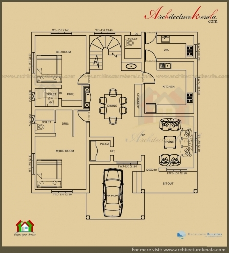 Inspiring Architecture Kerala 2500 Sq Ft 3 Bedroom House Plan With Pooja Beautiful Plan 3 Bed Room Pooja Picture