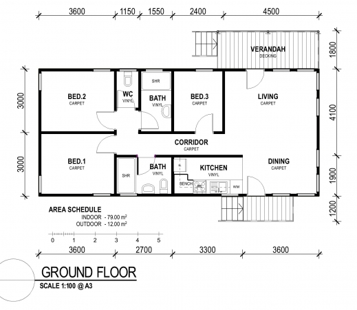 Small 3 bedroom house plan house floor plans - House of three bedrooms plan ...
