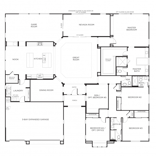 Marvelous 1000 Images About House Plans On Pinterest 3 Car Garage Single Story House Plans 3 Bedrooms Image