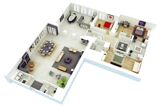 Marvelous 25 More 3 Bedroom 3d Floor Plans 5 Imanada Three Bedroom House 3d Designs And Plans Images