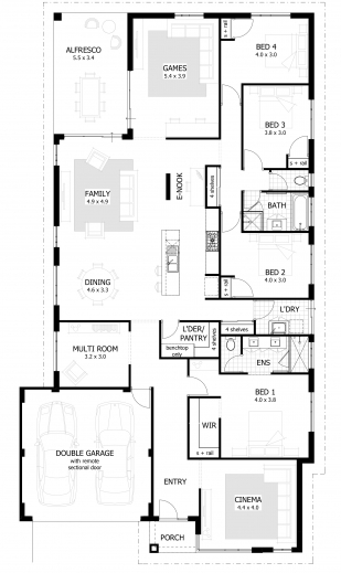 Marvelous 4 bedroom house plans amp home designs celebration homes 3 bedroom house plan co au