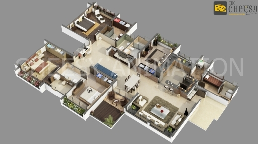 Marvelous Compact Design House Plan Imanada Modern 4 Bedroom House Floor Plans 3d Image