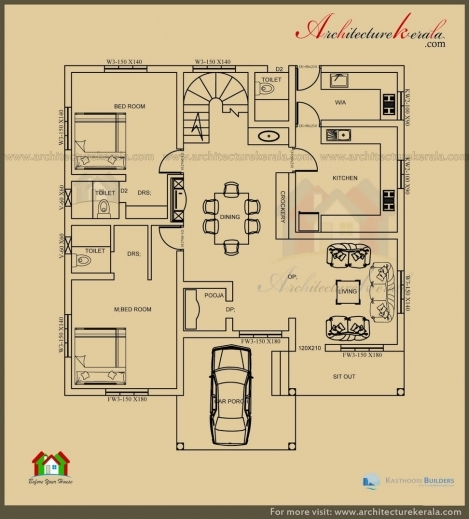 Outstanding architecture kerala 2500 sq ft 3 bedroom house for Kerala house plan 3 bedroom