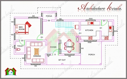 Remarkable 1700 Square Feet House Plan With Pooja Room Architecture Kerala 700sqft Kerala Traditional House Plan With Staircase Poojamuri Images