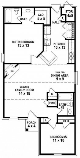 Remarkable 654334 Simple 2 Bedroom 2 Bath House Plan House Plans Floor Simple House Plan With 2 Bedrooms Pic