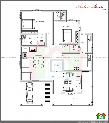 Beautiful plan 3 bed room pooja house floor plans for 2500 sq ft house plans in kerala
