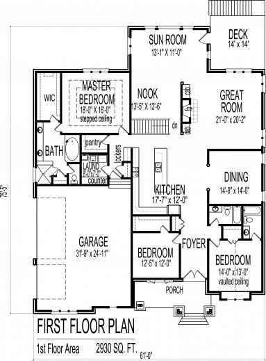Stunning 3 Bedroom Bungalow House Floor Plans Designs Single Story Single Story House Plans 3 Bedrooms Photos
