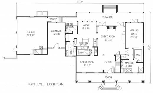 4 garages floor plan house floor plans for Detached garage with bonus room plans