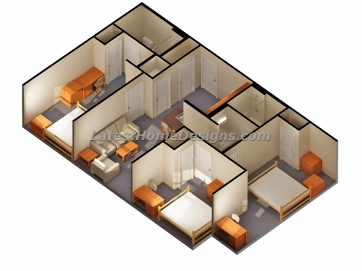 Stylish 2 Bedroom House Plans 3d Simple Plan With Bedrooms 4 Image