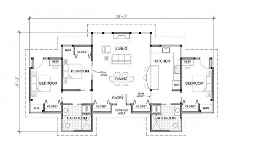 Stylish 3 bedroom single story modern house plans one for Modern one bedroom house plans