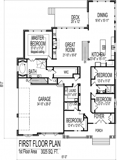 Stylish english cottage house floor plans european 4 for Floor plans for 4 bedroom ranch house