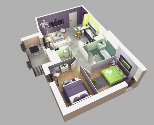 Stylish House Plans 3d And House Design On Pinterest Simple House Plan With  2 Bedrooms Photo