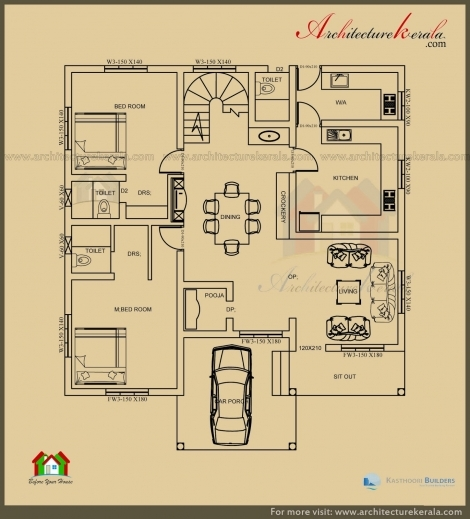 Wonderful 2500 Sq Ft 3 Bedroom House Plan With Pooja Room Architecture Kerala Beautiful Plan 3 Bed Room Pooja Photos
