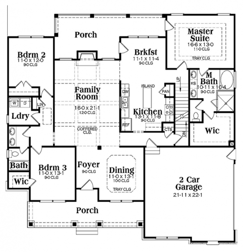 Architecture house plans single storey house floor plans for Unique one story floor plans
