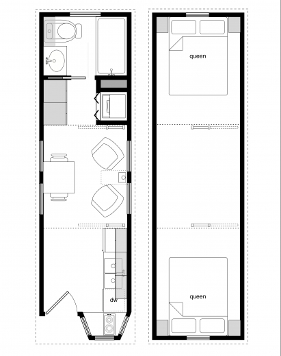 Wonderful Sample Floor Plans For The 8x28 Coastal Cottage Tiny House – Tiny House Floor Plan Maker