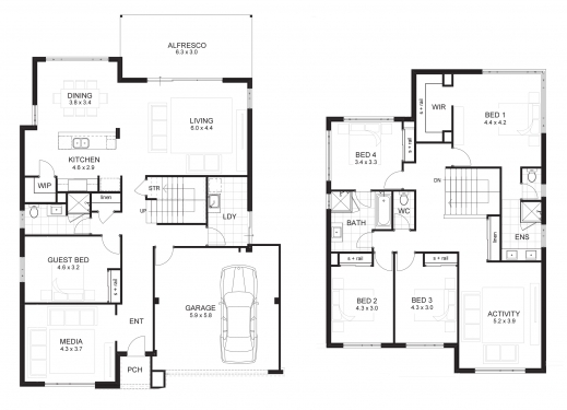 5 Bedroom House Plans 2 Story House Floor Plans