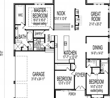 Amazing 3 Bedroom Bungalow House Floor Plans Designs Single Story Bed Room