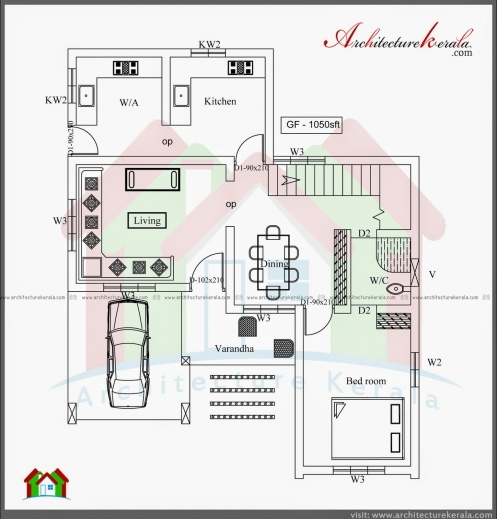 Fantastic 3 bed room 1500 square feet house plan for Kerala house plans 1500 sq ft