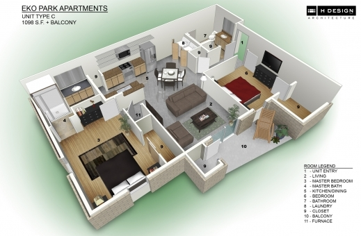 Awesome 3d House Plans Architectural Rendering Arts 3D Apartment & House Plan Pics