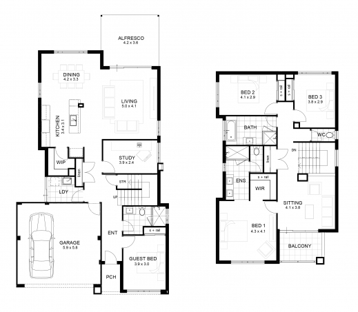 Awesome sample floor plan for 2 storey house small for Sample house plans