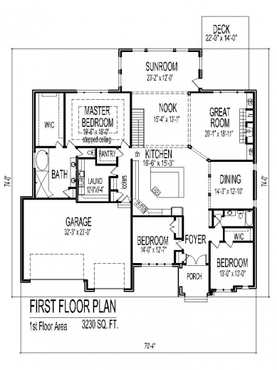 Awesome tuscan house floor plans single story 3 bedroom 2 for Four bedroom three bath house plans