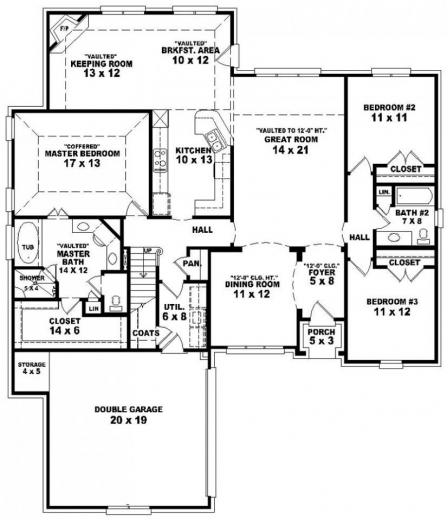 Floor plan of house 3 bedroom house floor plans - House plans with bedrooms pict ...