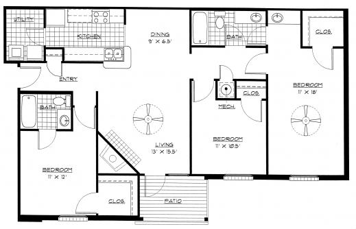 Floor plan of house 3 bedroom house floor plans for 3 bedroom country floor plan