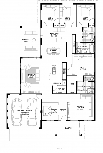 Awesome 4 Bedroom Floor Plans With Dimensions Four Bedroom House