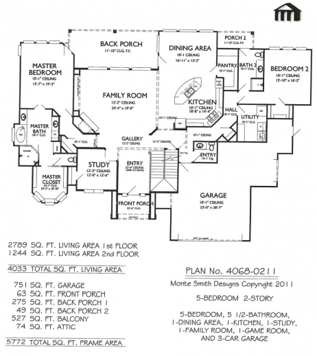Best 4068 0211 5 Bedroom 2 Story House Plan 2 Storey 5 Bedroom House Plans Pictures