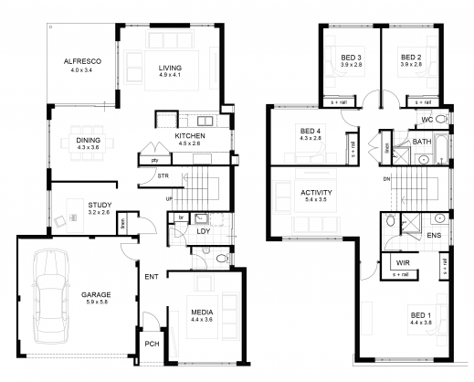 Best double storey 4 bedroom house designs perth apg homes for Four bedroom double storey house plan