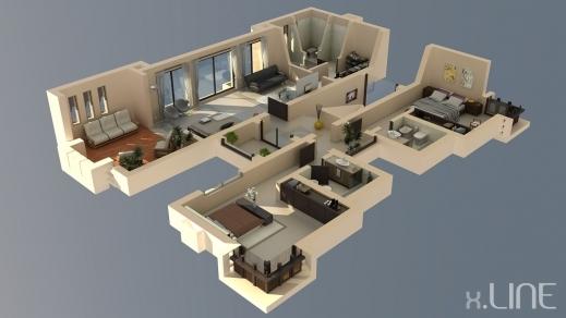 Fantastic 1000 Images About 3d Housing Planslayouts On Pinterest Village Home Plans 3D Photo