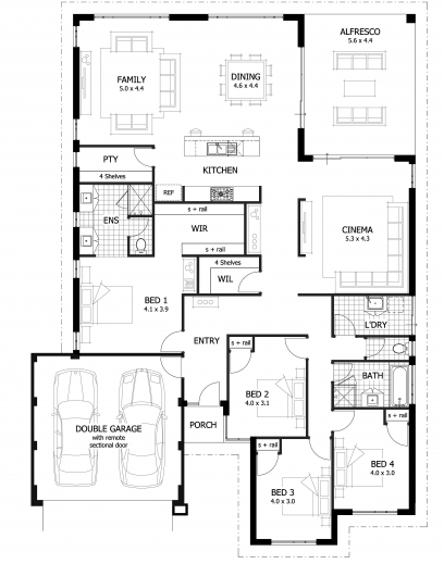 Fantastic 4 Bedroom House Plans Four Bedroom House Floor Plan Pictures