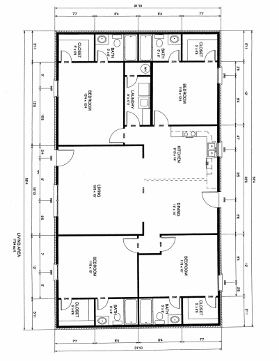 Fantastic four bedroom floor plans flooring four bedroom for Simple house plan with 4 bedrooms
