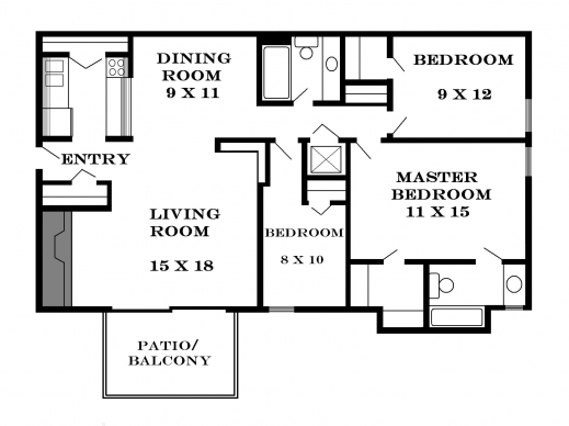 Fantastic Interior 3 Bedroom House Floor Plans With Garage2799 0304 Room 3 Bedrooms Small House Floor Plans Pictures