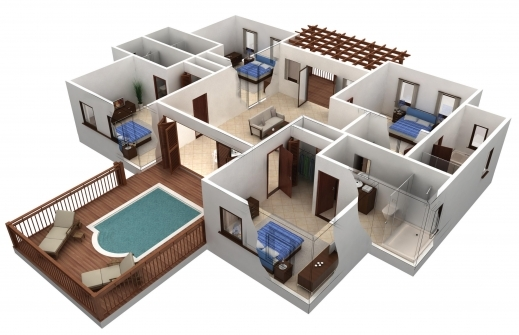 Fantastic Simple House Plan With 4 Bedrooms 3d Arts 3d 3 Bedroom House Plans Image