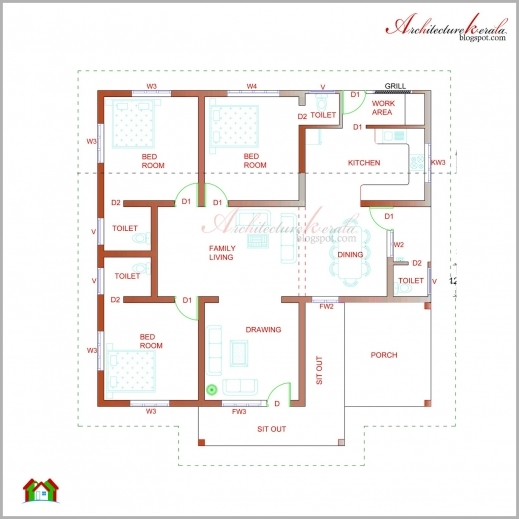 Elevation of a residential house floor plan house floor for Residential house plans and elevations
